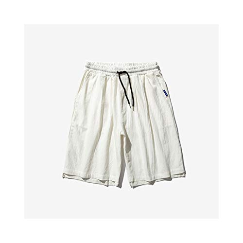PANSHANYAO Men's Solid Color Straight Loose Shorts Summer Cotton Large Size Shorts 6 Colors,White,L]()