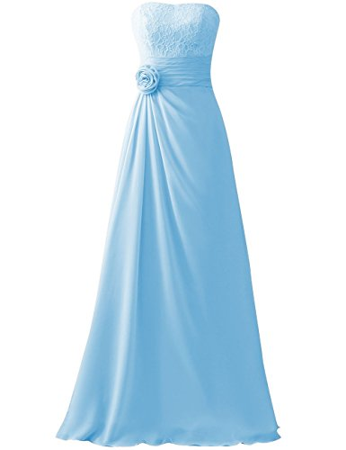 HUINI Cord¨®n Flor Largo Gasa Paseo Vestidos de dama de honor Sin tirantes Boda Fiesta Formal Vestidos Cielo azul