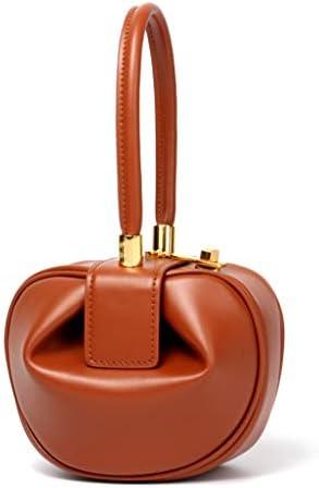 niumanery Women Fashion Genuine Leather Clutch Handbags Lady Tote Evening Wrist Bags Top Handle Bag Apricot L