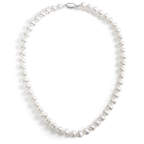 Aa+ Natural Pearl Necklace - Carleen AA Quality Round White Natural Freshwater Cultured Pearl Strand Necklace for Women Girls with 925 Sterling Silver Buckle, 18