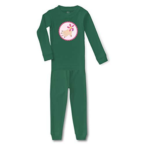 Manicure Cotton Crewneck Boys-Girls Infant Long Sleeve Sleepwear Pajama 2 Pcs Set Top and Pant - Kelly Green, 5/6T -