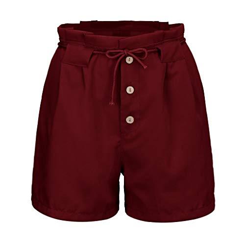 MURTIAL Women's Shorts Solid Color Casual Elastic Waist Short Pants Trendy Drawstring ()