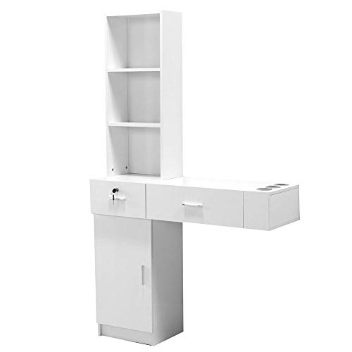 Idealbuy Hair Styling Station Desk Wall Mount Beauty Salon Spa Mirrors Station White