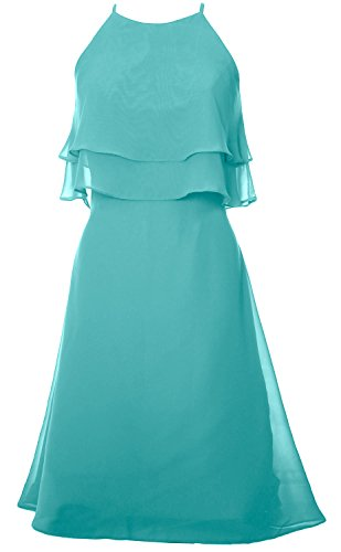 MACloth Tiered Chiffon Short Bridesmaid Dress Halter Cocktail Dress ...