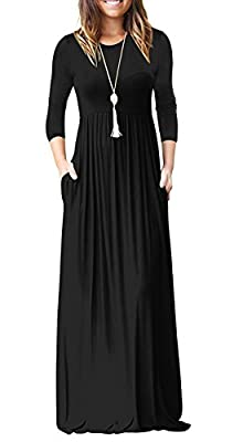 PINKMILLY Women Loose Plain 3/4 Sleeve Maxi Dresses Casual Long Dress with Pockets