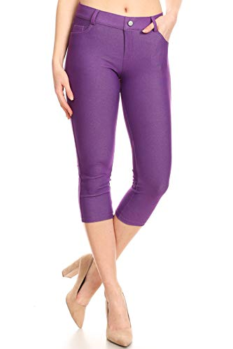 - ICONOFLASH Women's Purple 5 Pocket Capri Jeggings - Pull On Skinny Stretch Colored Jean Leggings Size Large