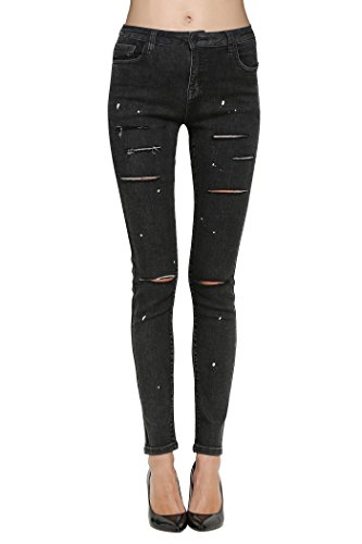Coated Legging (Butt Lift Skinny Jeans, ZLZ Women's Casual Destroyed Ripped Distressed Stretch Jeans Legging. (12, Black Coated)