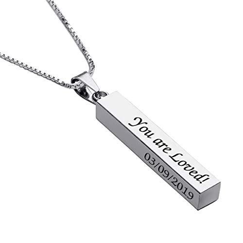 Personalized 3D Vertical Bar Necklace, Custom Necklace Engraved with Any Name Pendant Jewelry Gift