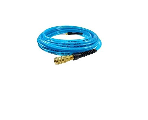 Coilhose Pneumatics PFE4025TS15X Flexeel Reinforced Polyurethane Air Hose, 1/4'' ID, 25' Length with 1/4'' Industrial Coupler & Connector, Transparent Blue, Polyurethane