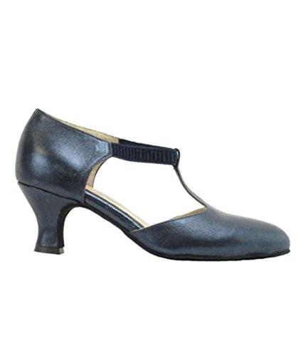 9402 Ritmo Latein Salsa Rumba Tango Damen Tanz Schuhe Leder und Chromledersohle, Absatz 5 cm Farbe blau - Made in Italy! Blau