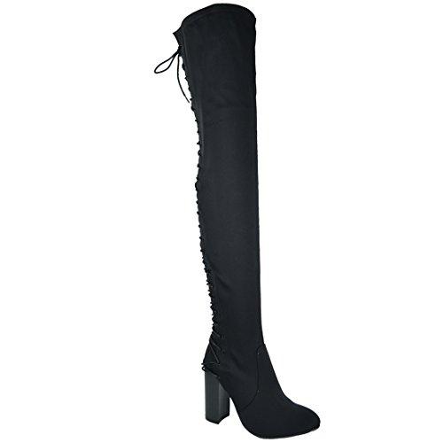 Black Lycra Thigh High - Chase & Chloe EE81 Women's Thigh High Lace Up High Heel Boots (10 B(M) US, Black Lycra)