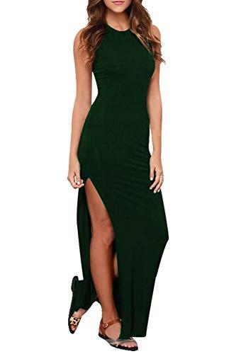 (Womens Sleeveless Cotton High Split Fitted Maxi Tank Dress Dark Green S)