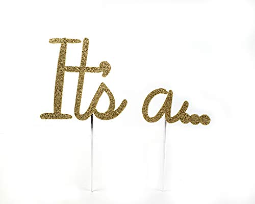 CMS Design Studio Handmade Gender Reveal Cake Topper Decoration - It's a. . . - Made in USA with Double Sided Gold Glitter Stock (Design Its)
