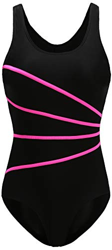 EBMORE Womens One Piece Swimsuit Bathing Suit Chlorine Resistant for Athletic Sport Training Exercise(Black & Pink 0-2)