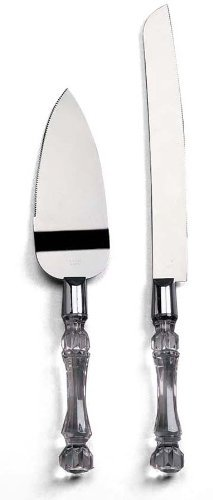 - Darice 35745, Knife and Server Set, Faux Crystal