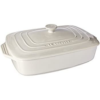 Le Creuset Stoneware Covered Rectangular Casserole, 12.5 by 8.5-Inch, White