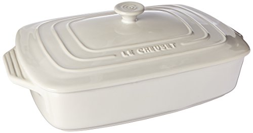 Le Creuset Stoneware Covered Rectangular Casserole, 12.5 by 8.5-Inch, White Dishwasher Safe Stoneware Casserole