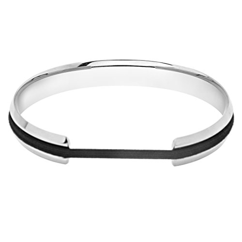 ZUOBAO Stainless Steel V Groove Cuff Bangle (Silver)