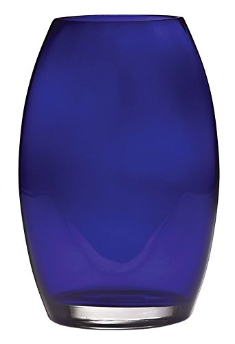 Painted Glass Vase (Barski - Handmade Glass - Oval Shaped vase - Cobalt - 8.5