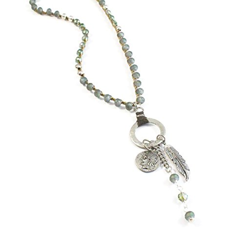 ISABEL INY Capitola Women Handmade Coin Feather Necklace - Crystals & Silver Plated African - Stores Capitola