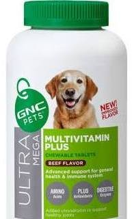 GNC Ultra Mega Multivitamin Plus Advanced Support for Senior Dog 60 Count Chewable Tablets by GNC Pets Review
