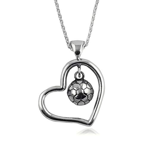 Soccer Ball Heart Open Drop Necklace - Sterling Silver Jewelry by Dayna -