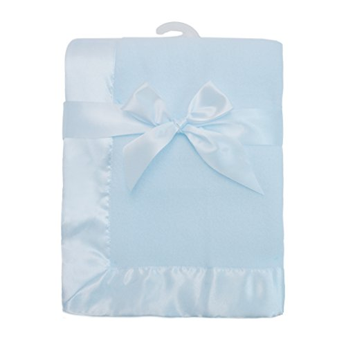 "American Baby Company Fleece Blanket 30"" X 40"" with 2"" Satin Trim, Blue"