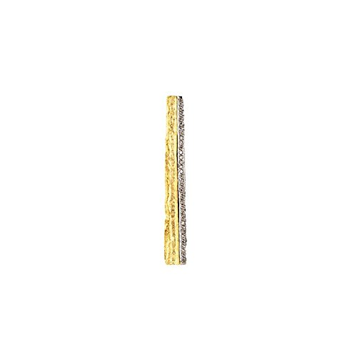 (18k Gold .16 Dwt Diamond Yellow Pendant Textured White and Yellow Bar)