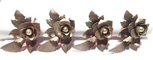 Norma Jean Designs New Item Flower Napkin Ring Set of 4 Antique Gold Painted with Pearl Center