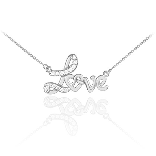 "14 ct 585/1000 Or Blanc ""Love"" Coeur-Diamant-Collier"