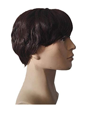 (Tuyhnm Short Wig Synthetic Resistant Fiber Dark Brown Wavy Hair Hairpiece Black Light Brown Peruca,Natural)