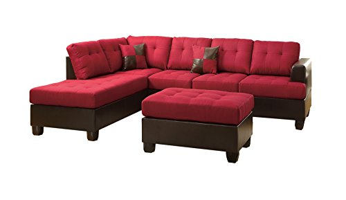 Poundex Bobkona Winden Blended Linen 3-Piece Reversible Sectional Sofa with Ottoman, Carmine (Living Room Furniture Sets Red)