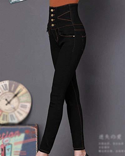 Mezclilla Slim Cintura Delanteros Libre Un Mujeres De Solo Pantalones Stretch Estiramiento Lápiz Blau Al Bolsillos Vaqueros Alta Delgados Fit Las Aire Pecho qzgxpxZwI
