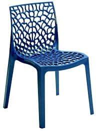 Verone Mobili Lote de 2 Sillas Mod. Gaudi - Color Azul para Exterior Tanto para terraza y Jardin realizada en Polipropileno