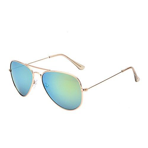Retro Mirror Aviator Sunglasses Flash Tinted Lens Eyeglasses for Women Men UV400 (Gold/Yellow)