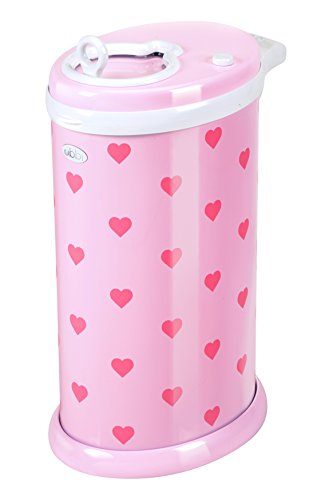 Ubbi Money Saving, No Special Bag Required, Steel Odor Locking Diaper Pail, Pink Hearts by Ubbi