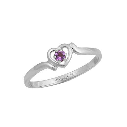 4 1/2 Girls 14K White Gold Genuine Amethyst February Birthstone Heart Ring