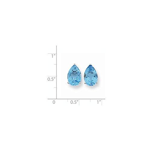 14k White Gold 12x8mm Pear Blue Topaz Earrings. Gem Wt- 7.6ct (0.5IN x 0.3IN)