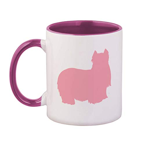 Style In Print Soft Pink Yorkshire Terrier Silhouette Ceramic Cup Colored Mug - Pink