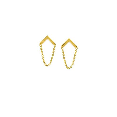 (14kt Yellow Gold Upside Down V With Chain Draped Earrings)