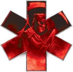 Grim Reaper Star of Life EMT EMS Red 4