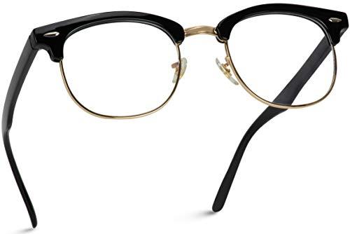 Vintage Inspired Classic Half Frame Horn Rimmed Clear Lens Glasses (Thick Black/Gold, 52)