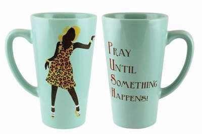 African American Mug (African American Expressions 218577 Mug-Latte-PUSH & Pray Until Something Happens)