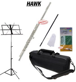 Hawk Silver Closed Holed Student Flute School Package with Case Music Stand and Cleaning Kit WD-F112-PACK