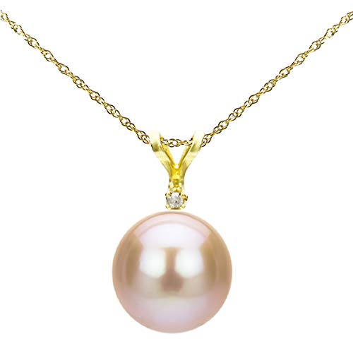 14k Yellow Gold 1/100cttw Diamond 9-9.5mm Pink Button Shape Freshwater Cultured Pearl Bunny Pendant