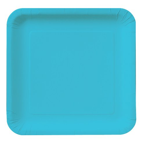 Creative Converting Touch of Color 18 Count Square Paper Dinner Plates, Bermuda Blue Bermuda Blue Dinner
