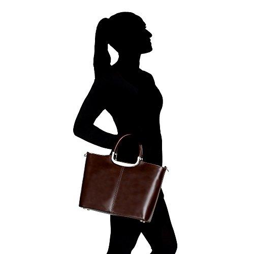Cm Sac cuir Italie en à Fabriqué Marron femme Borse avec épaule main véritable foncé Chicca 36x27x12 en T4T6Ywrq