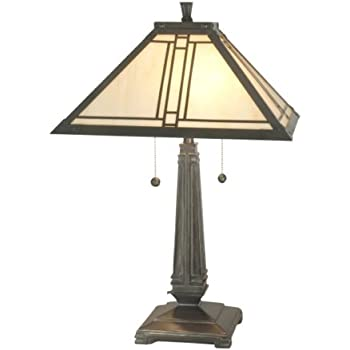 Dale Tiffany TT70735 Lined Mission Table Lamp, Antique Brass And Art Glass  Shade