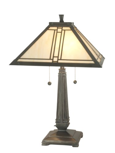 Fine Art Lamps Bronze Table Lamp (Dale Tiffany TT70735 Lined Mission Table Lamp, Antique Brass and Art Glass Shade)