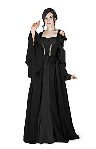 Abaowedding Womens's Medieval Renaissance Costume Cosplay Chemise and Over Dress (L/XL, Pure Black)